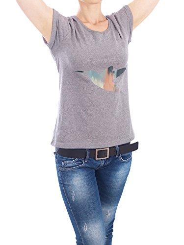 "Design T-Shirt Frauen Earth Positive ""Brushed Hummingbird"" - stylisches Shirt Tiere Abstrakt Geometrie Natur Kindermotive Fiktion von Paper Pixel Print Grau"