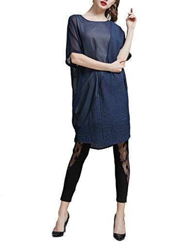 ... ELLAZHU Damen Sommer Rundhals Kurzarm Kleid DY209 Blau ...
