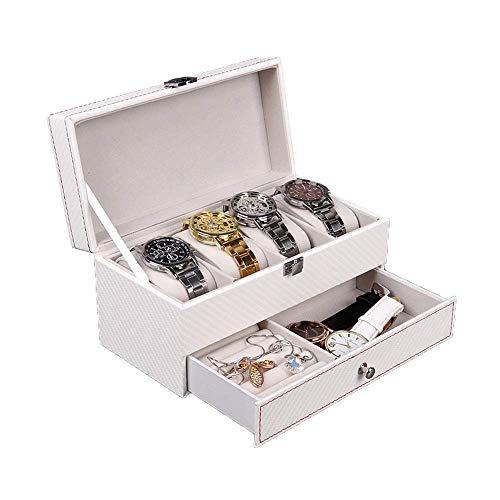 WSJTT Uhrengehäuse Uhrenbox für Herren - 4-Slot Vitrine Organizer Metallschnalle für Herren Schmuck Uhren Herren Aufbewahrungshalter w Large