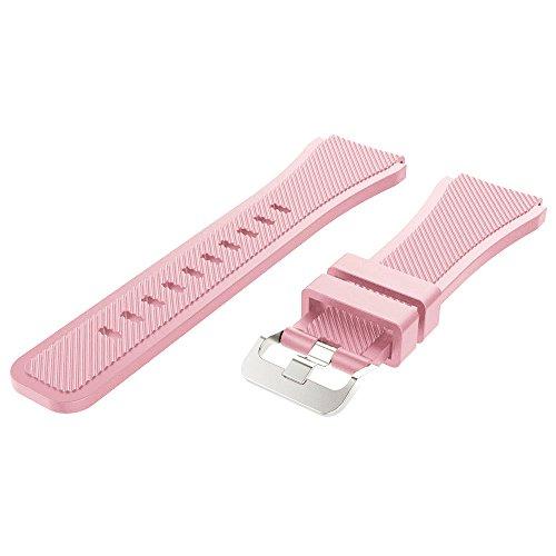 armband 22mm - weich und absolut angenehm zu tragen - Perfektes Ersatz-Sportarmband für Samsung Gear S3 Frontier Classic, Galaxy Watch 46mm - Geschenk für den Vatertag (Rosa) ()