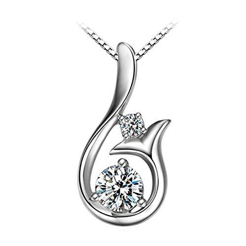 aozuzizhixianbam Damen 925 Silber Meerjungfrau Kristall glänzende Clavicle Anhänger Halskette ohne Kette für Damen & Mädchen - Keine