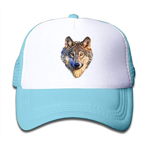 LaTer Realistic Wolf Head Boy-Girl Mesh Baseball Caps Kid's Trucker Hat SkyBlue Womens Plain Front Chino