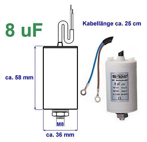 Preisvergleich Produktbild Kondensator Anlaufkondensator Motorkondensator Arbeitskondensator Kabel 8µF 450V