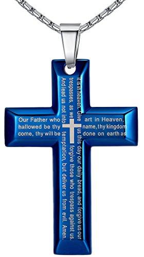 aoiy-mens-stainless-steel-large-bible-lords-prayer-in-english-scripture-cross-pendant-necklace-blue-