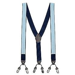 The Tie Hub Pin Dots Navy Blue Y Back Suspender