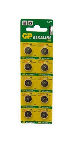 Ten (10) x GP Batteries 186 AG12 LR43 L1142 Alkaline Battery 1.5v Blister Packed - Used in Cameras, Toys, Calculators…