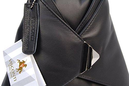 Rucksack aus Leder von Visconti - 18258 - Größe: B: 25 H: 35 T: 19 cm Schwarz