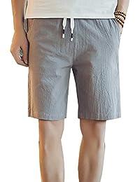 Hombre Chinos Pantalones Cortos De Playa Pantalon Lino Cargo Bermudas  Cintura Elástica Shorts Respirable Tallas Grandes a56625ec0472