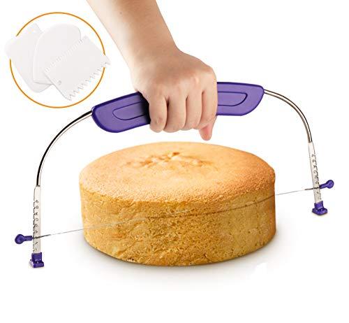 Tortenbodenteiler Tortenbodenschneider Kuchenformen Draht ilauke Kuchen Cutter mit gratis Schaber Kuchenschaber Qualitätsware Backform Modellierwerkzeug Ausstecher Ausstechformen