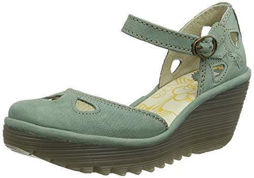 Fly London Yuna, Zapatos de tacón con Punta Cerrada para Mujer, Verde Jade Green 144, 37 EU