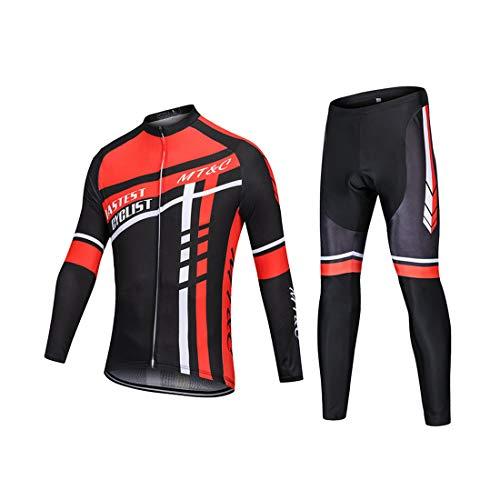 GWELL Herren Radtrikot MTB Fahrradbekleidung Set Trikot Langarm + Radhose mit Coolmax Sitzpolster für Radsport XL - Reiten-shirt Coolmax