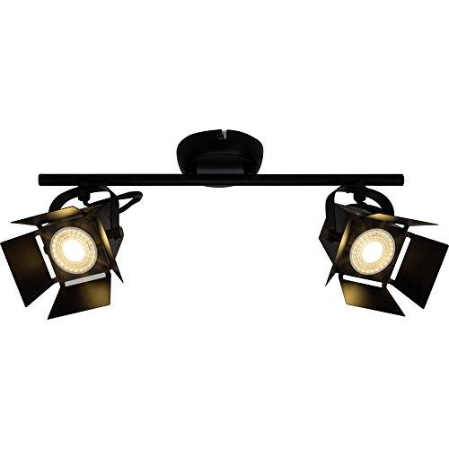 Moderne LED Deckenleuchte / Deckenspot, 2x LED GU10 5W inkl., 2x 345 Lumen, 2900K warmweiß, Metall, schwarz matt