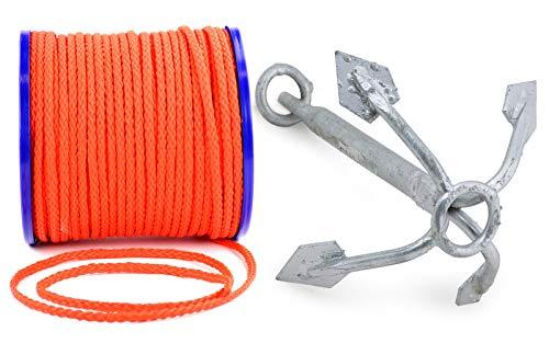 wellenshop Wurfanker 4 kg + Ankerleine 10 m Durchmesser Ø 8 mm Stahl Polyethylen Anker Suchanker Netzanker Bootsanker Festmacherleine Boot -