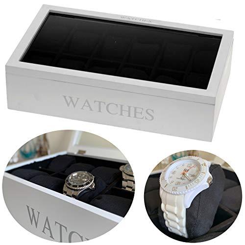LS-Design Holz Uhrenbox Weiß 12 Uhren Uhrenschatulle Uhrenkiste Uhrenkasten