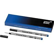 Montblanc 105159 Recambios de punta mediana para Rollerball / Recargas de alta calidad Pacific Blue, 1 paquete x 2 Recargas