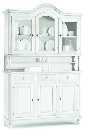 Buffet avec vitrine, style classique, en bois massif et MDF avec finition Blanc mat - Dim. 195 x 47 x 213