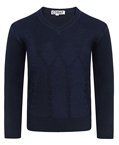 Boys Pullover Cable Knitted 1793 Jumper In Navy In 9-10 Years