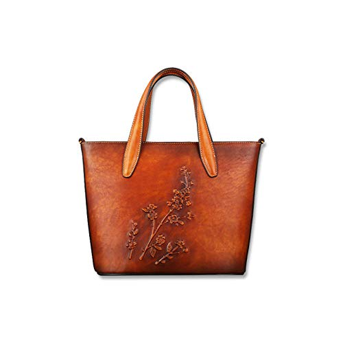 Pamabag Echtes Leder Damen Tasche,Vintage Braun Aus Echtem Leder Damen Handtasche Umhängetasche Classic Pflaumenblüten Geprägte Große Kapazität Tote Bag Mode Elegante Schulter Kuriertasche (Gefüttert Geprägte Tote)