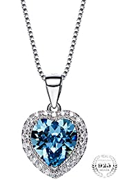 """Young & Forever Valentine Gifts Special """"Choose Your Birthstone"""" 925 Sterling Silver Heart Pendant Crystals From..."""