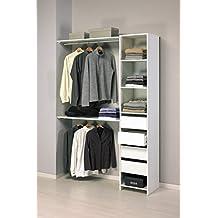 Kit armario ropero blanco gran capacidad para dormitorio. 203x141cm (2 tipos de montaje)