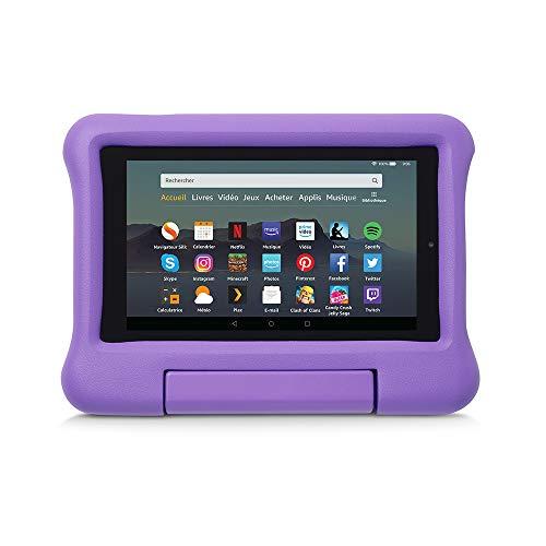 Coque spéciale enfants pour tablette Fire 7 (compatible avec les appareils de 9ème génération, modèle 2019), Violet