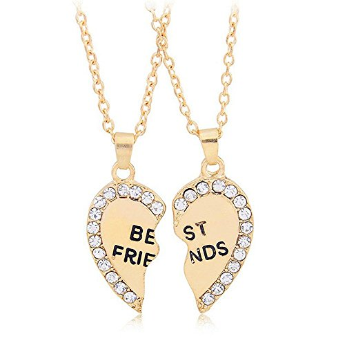 ODETOJOY Gold Beste Freund Halskette Freundin Geschenk 2 Gebrochen Herz Strass Freundin Halskette Kette für 2 Halsketten, EIN zerbrochenes Herz mit Zwei Ketten