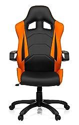 hjh OFFICE 621838 Gaming Chefsessel RACER PRO I Kunstleder Schwarz/Orange moderner Bürostuhl mit Wippfunktion