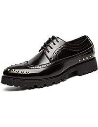 Ofgcfbvxd Boda del Zapato de Negocios de los Hombres Oxford Personalidad Retro Wipe Color Remaches Zapatos Brogue Calzado Formal con Cordones (Color : Negro, tamaño : 41 EU)