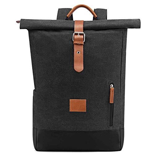 Neuleben Vintage Kurierrucksack Rucksack Roll Top Rucksäcke Daypack Backpack Canvas Damen Herren (Dunkelgrau)