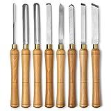 Scalpello tornio set 8 piece set con scatola di legno per tornitura legno maniglie, in acciaio ad alta velocità e terminali in ottone (legno)