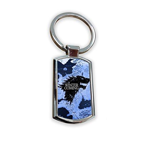 Game of Thrones Fantasy Got Serie TV USA zeigen Schlüsselanhänger Metall Charm Anhänger Schlüssel Ring Schlüsselanhänger Bag Tag Schlüsselanhänger–Winter is coming stark mahnwache Schild, blau Karte (School Billig Outfits Girl)
