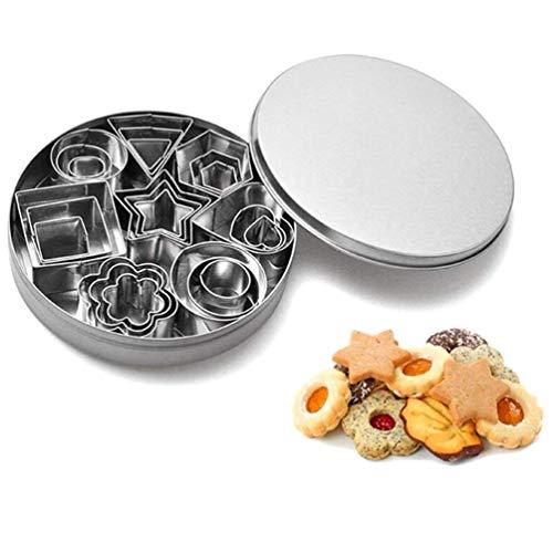 Yzcx set di formine per biscotti stampi biscotti taglierine del biscotto in acciaio inossidabile per decorazioni in fondente, decorazioni di dolci di pasticceria (mini 24pcs + scatola di ferro)