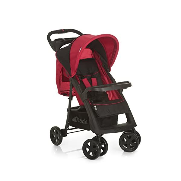Hauck Shopper Neo II, Folding Pushchair from Birth to 25 kg, Lightweight with Lying Position, Two Cupholder Trays, One Hand Fold, Caviar/Tango Hauck Fold in seconds with one hand Comfortable seat with lying position and adjustable footrest Includes 2 practical bottle trays 1