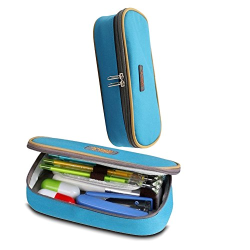 Buwant pencil case for teenage girls Multi-layer Large Capacity Pen Holder(Blue)
