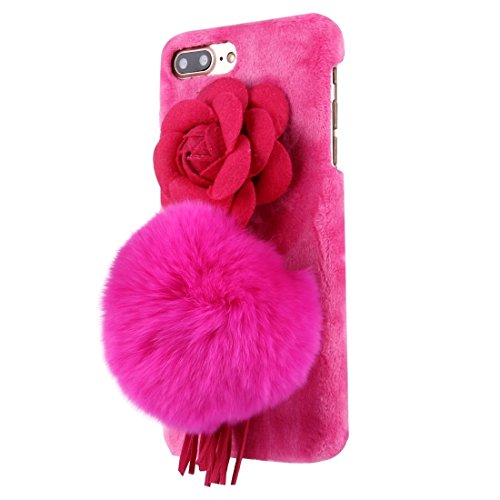 iPhone Case Cover Pour iPhone 7 Plus Camellia 3D fleur peluche boule de peluche couverture de tissu PC cas de protection ( Color : Magenta ) Magenta
