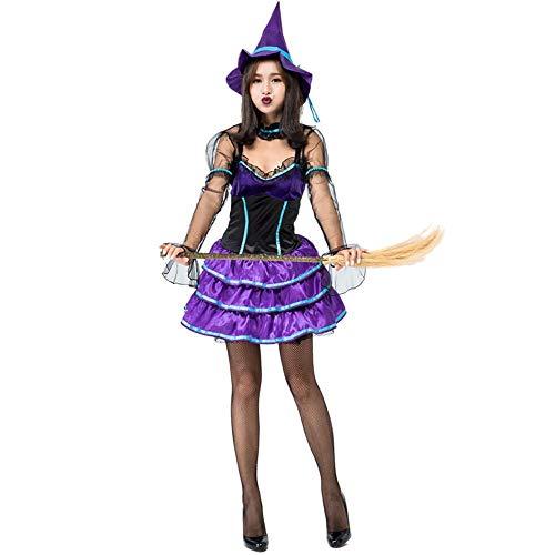 Shisky Cosplay kostüm Damen, Violette Hexe Make-up Ball Cosplay Magic Girl Spiel Kostüm (Skelett Halloween Make-up Girl)