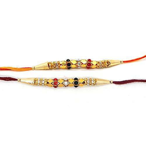 PMK Rudraksha Rakhi-Armbänder, 3er-Set Raksha Bandhan-Geschenk aus Indien,Mehrfarbig und Mehrfachmuster