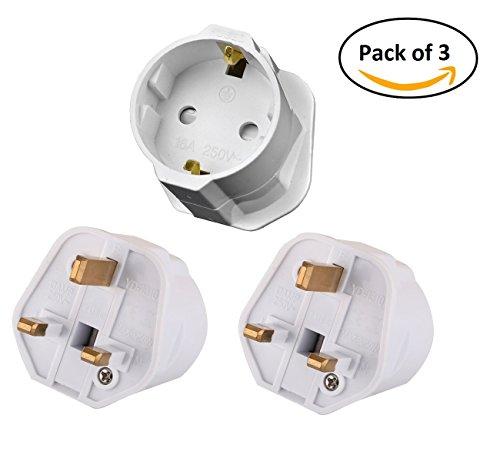 Tech Traders ttschuko europäischen Euro EU Schuko 2UK 3-Pin Plug Adapter Travel Netzadapter (3Stück), weiß, Set 3Stück