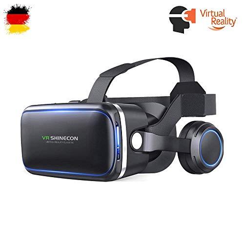 VR 3D Virtual Reality Brille mit Kopfhörer Headset, Universal kompatibel mit Smartphones Größe 4...