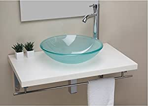 Lavabo support satin de verre forme ronde for Amazon lavabos