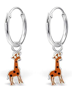 JAYARE Kinder-Creolen Giraffen 925 Sterling Silber Emaille 22 x 4 mm orange Ohrringe