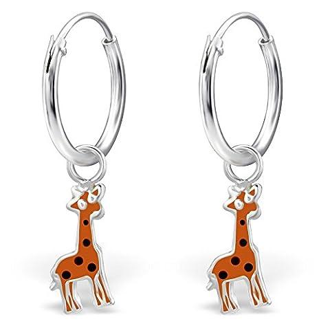 JAYARE Kinder-Creolen Giraffen 22 x 4 mm Emaille 925 Sterling Silber orange im Etui Mädchen-Ohrringe