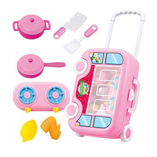 Toyvian Spielzeug-Set für Kinder, zum Schneiden von Küchenwagen, Spielzeug, Lernspielzeug, Kinderpartys, Küche, Essen, Spielen, Rosa (Küche-sets Spielen)