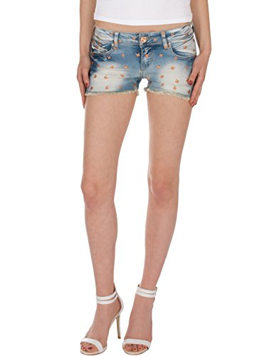Fraternel Damen Jeans Kurze Hose Shorts Hotpants Hellblau XS / 34 (Shorts Pocket Five Rise Low)