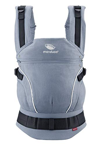 manduca First Babytrage > PureCotton Skyblue < Ergonomische Babytrage in Bio-Qualität (Leichter Canvas aus Bio-Baumwolle, Soft & Fusselfrei) für Babys & Kinder bis 20kg, hellblau
