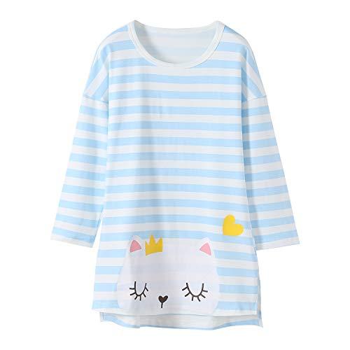 Kätzchen Nachthemden für Mädchen Langarm Kinder Schlafanzüge Rundkragen Blau 5 Jahre -