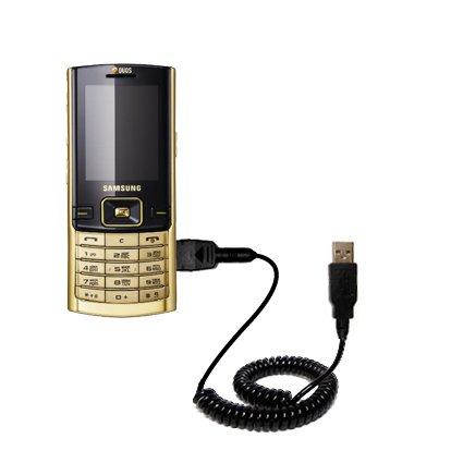 Aufgewickeltes USB-Kabel kompatibel mit Samsung SGH-D780 DUOS mit den Funktionen Datentransfer und Aufladen Verwendet die TipExchange Technologie