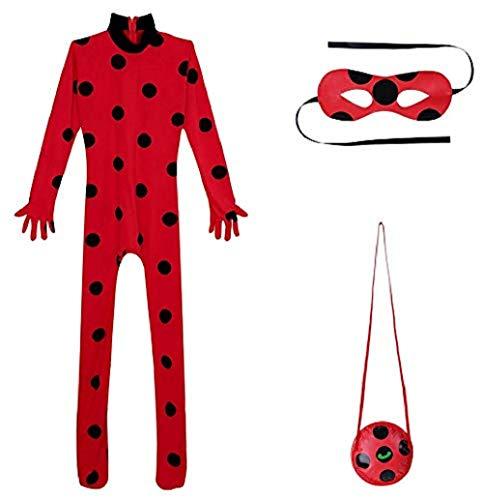 YiZYiF Mädchen Ladybird Katzen Kostüm 3er Set: Jumpsuit, Augenmaske und Tasche Cosplay Verkleidung Karneval Fasching Halloween Kostüme Rot Erwachsene ()