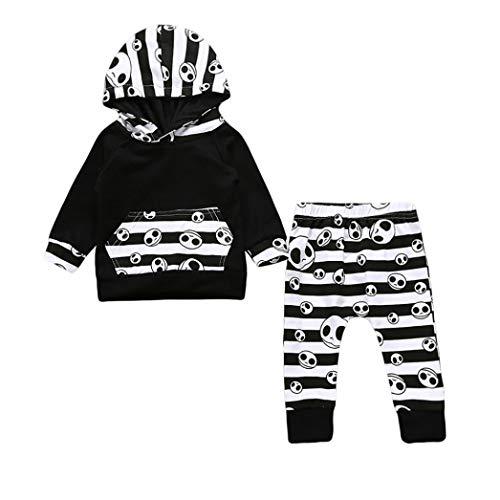geärmel Halloween Schädel Knochen Gedruckte mit Kapuze Sweatshirt Set Oberteile + Hose Clothes Streifen Pant Unisex Karikatur Baumwolle Top Langehose (Schwarz,70) ()