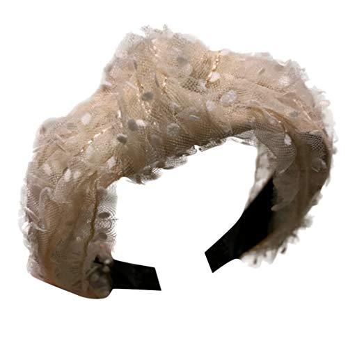 kolila Günstige Stirnband Haarspange Ausverkauf Damenmode Polka Dot Blumenzubehör Wide-Side Mesh Verdrehte Haarband Damen Mädchen(Beige) Sparkle Mini Rock